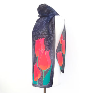silk scarf for women red tulips painted silk