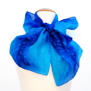 painted silk neck scarf for women blue