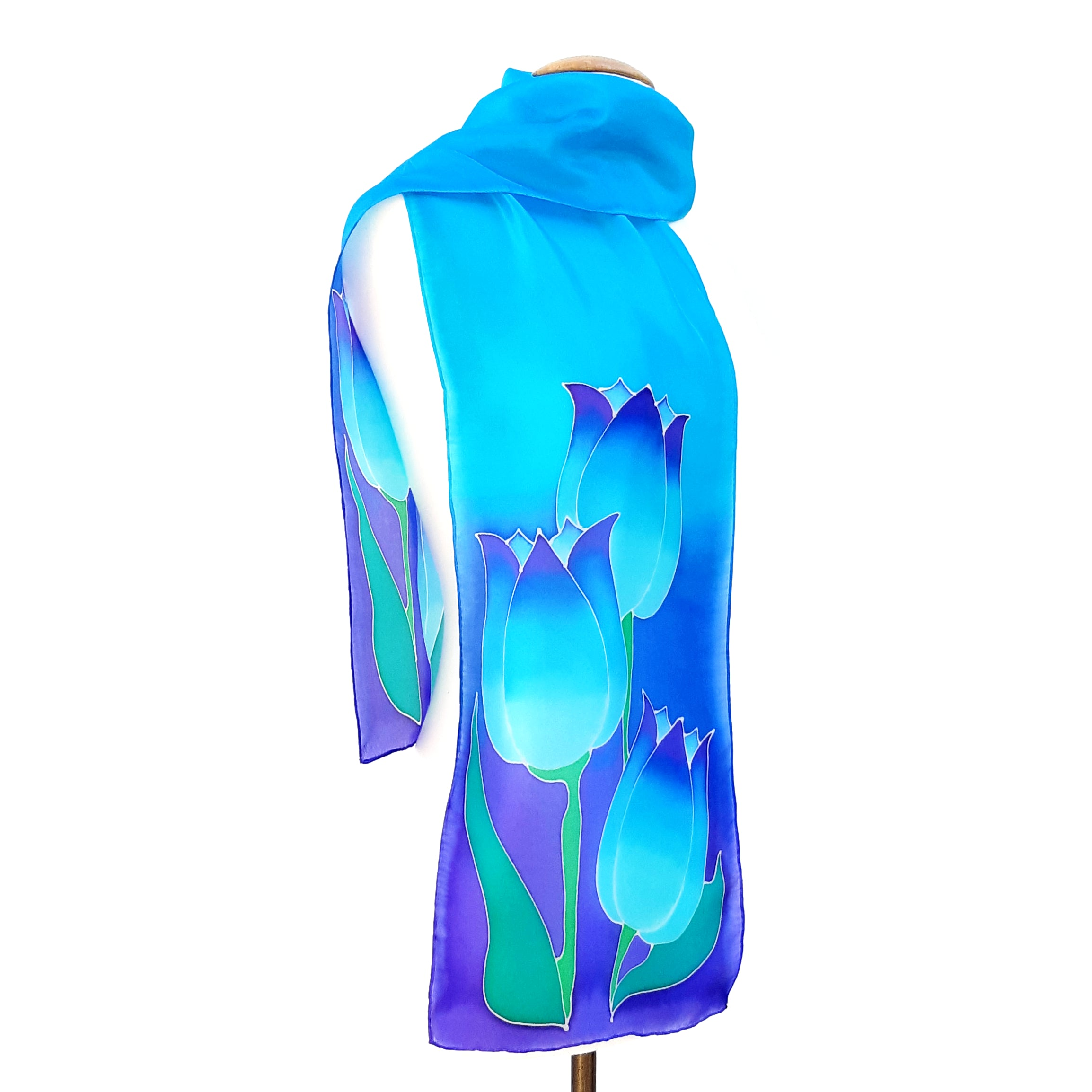 painted silk scarf for women blue tulips