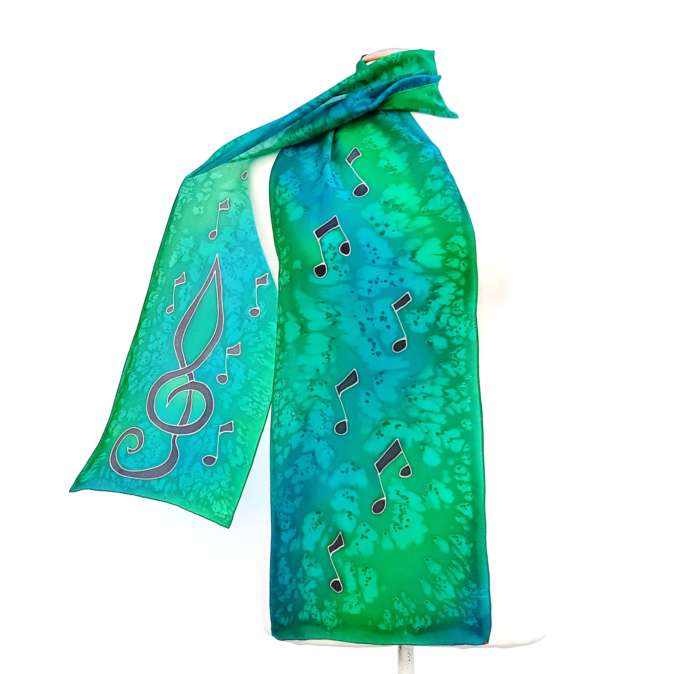 Painted silk long scarves green color