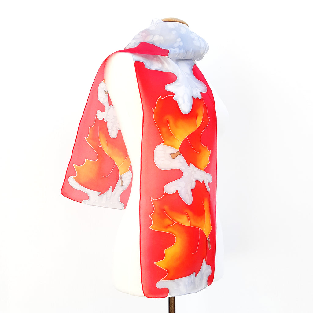 painted silk long scarf red Autumn Leaves