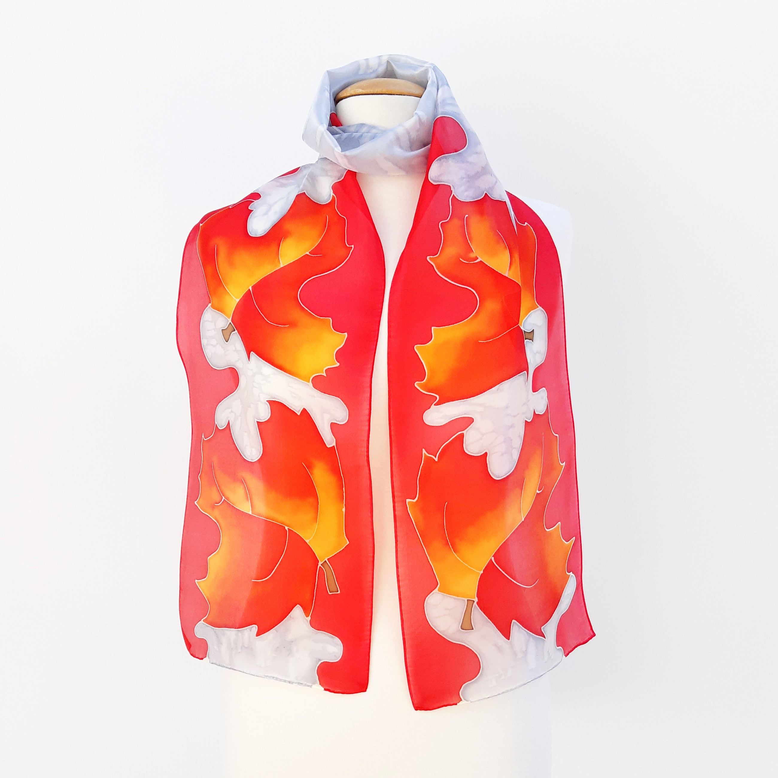 silk scarf for women red orange painted silk