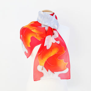 ladies scarf red silver painted silk