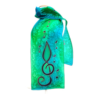 painted silk green scarves
