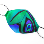 Load image into Gallery viewer, peacock feather fitted pure silk facemask