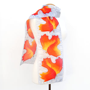 AUTUMN LEAVES Black & Red Gold PAINTED SILK Design Silk Scarf