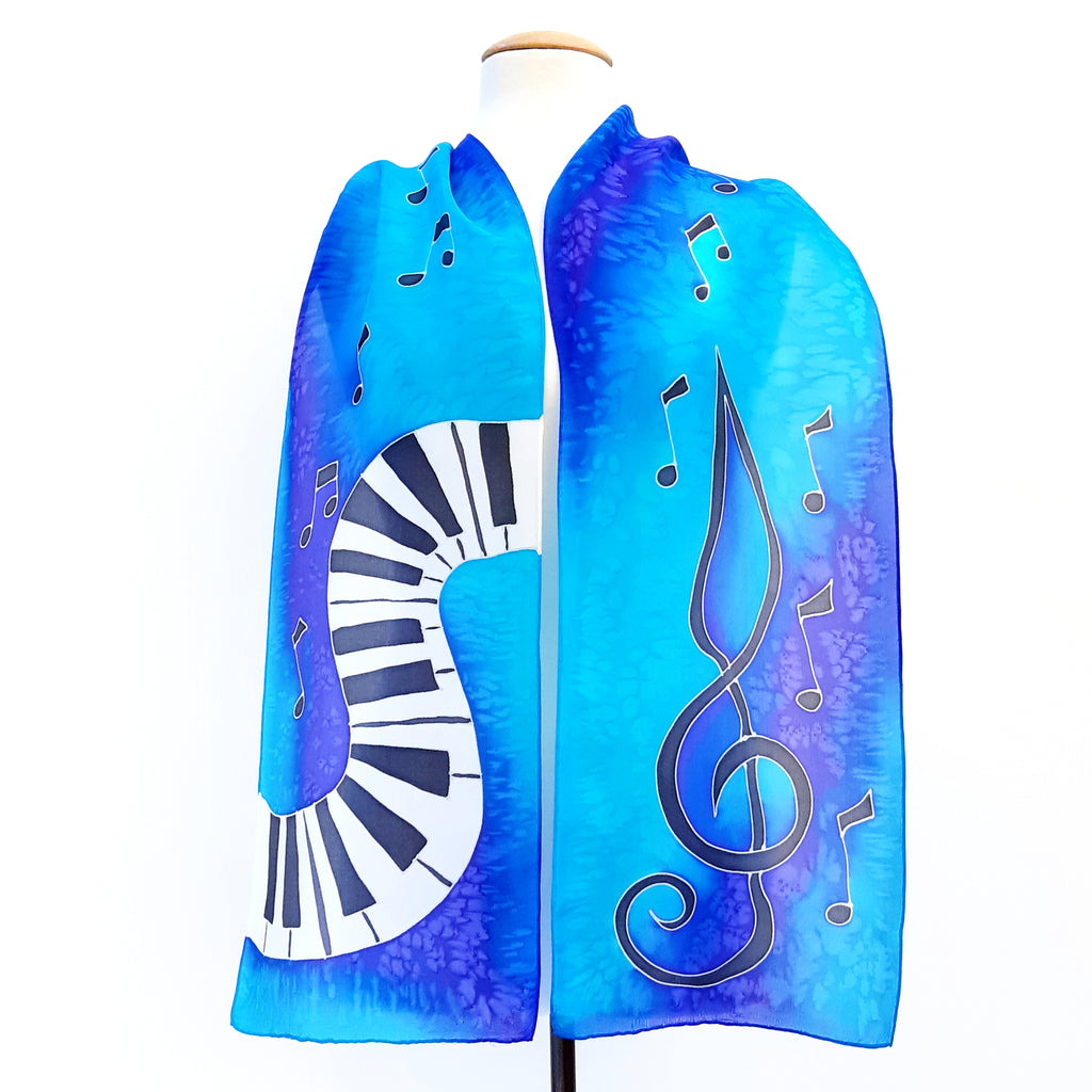 painted silk scarf blue