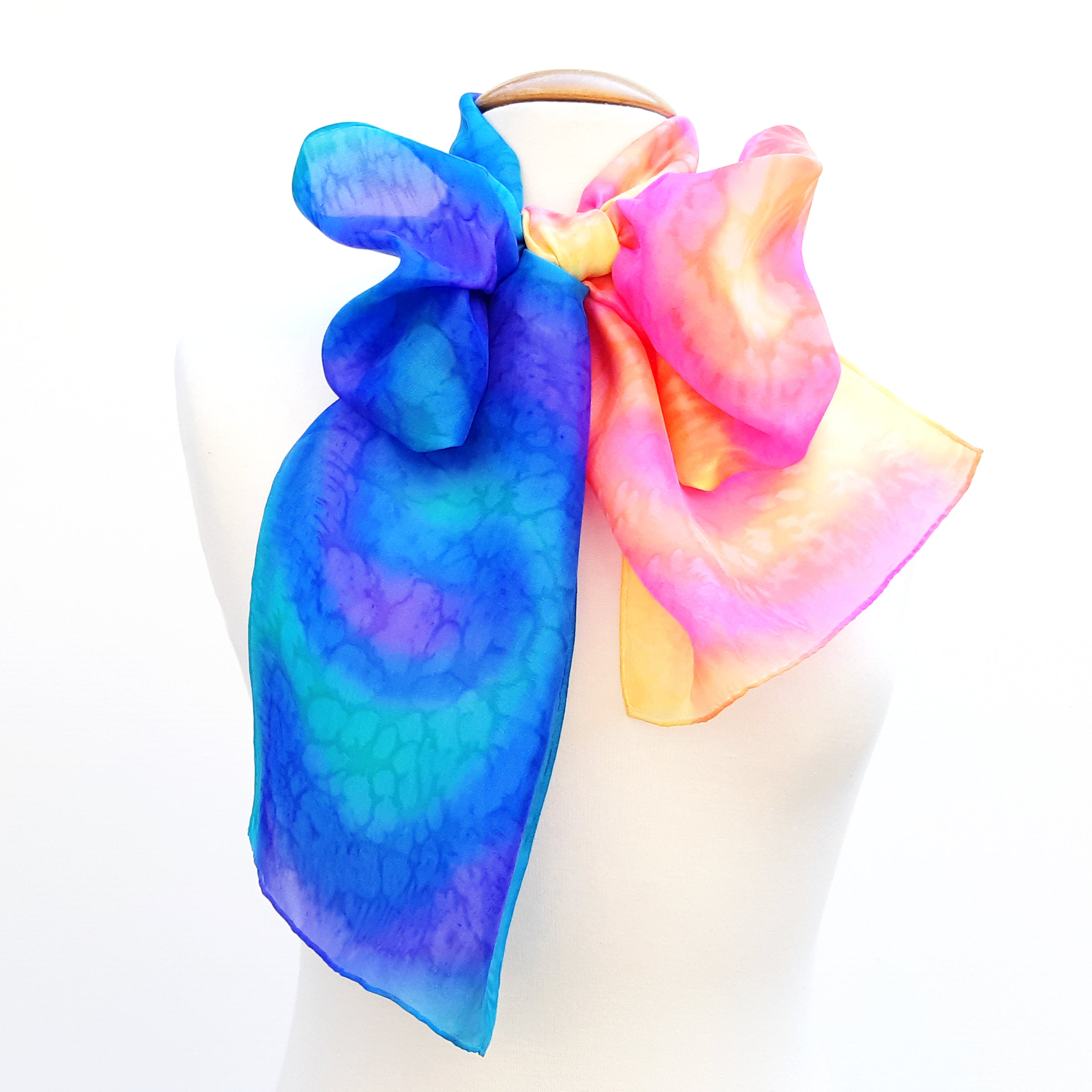 painted silk scarves LGTB rainbow colors