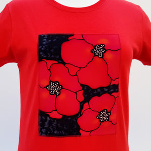 painted silk fashion poppies on silk cotton t-shirt