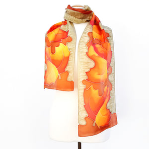 AUTUMN LEAVES Red Silver Grey PAINTED SILK Design silk scarf