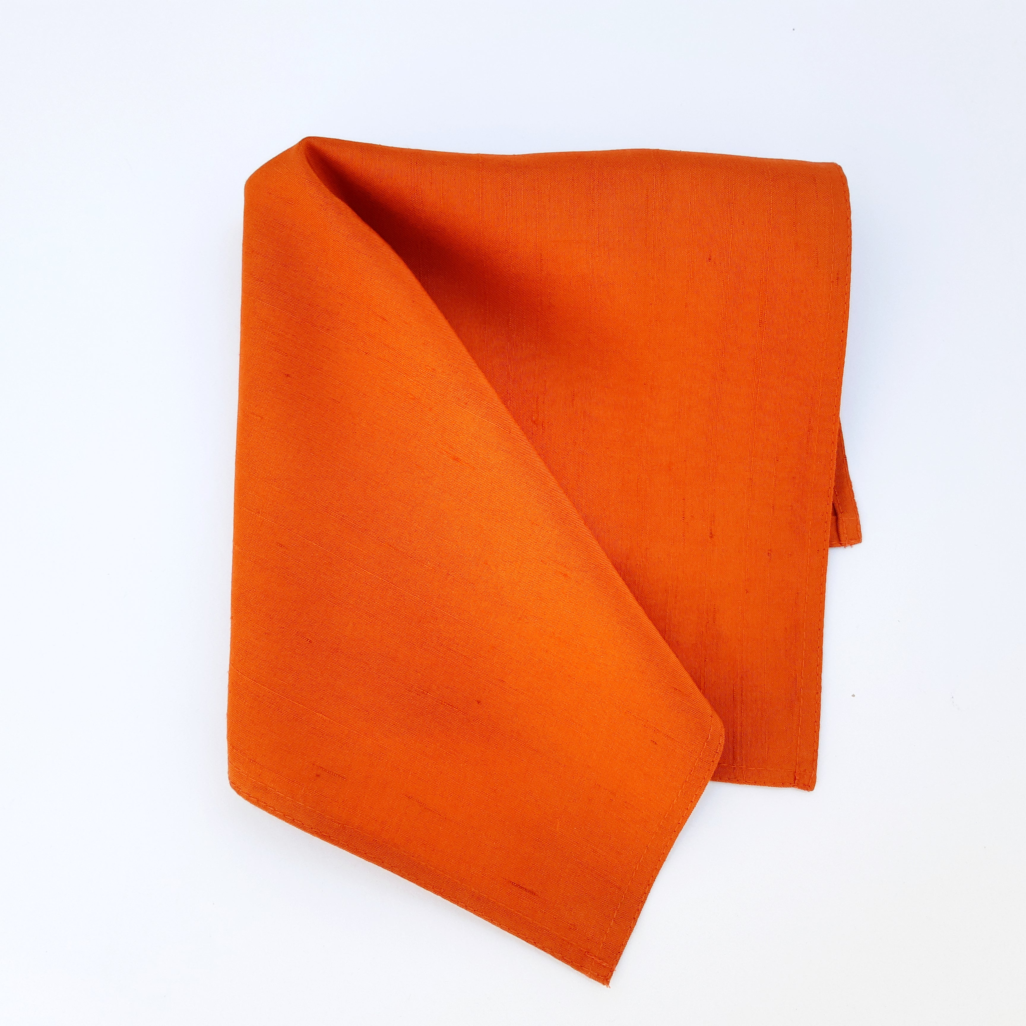 pocket square orange painted silk for fathers day gift for men