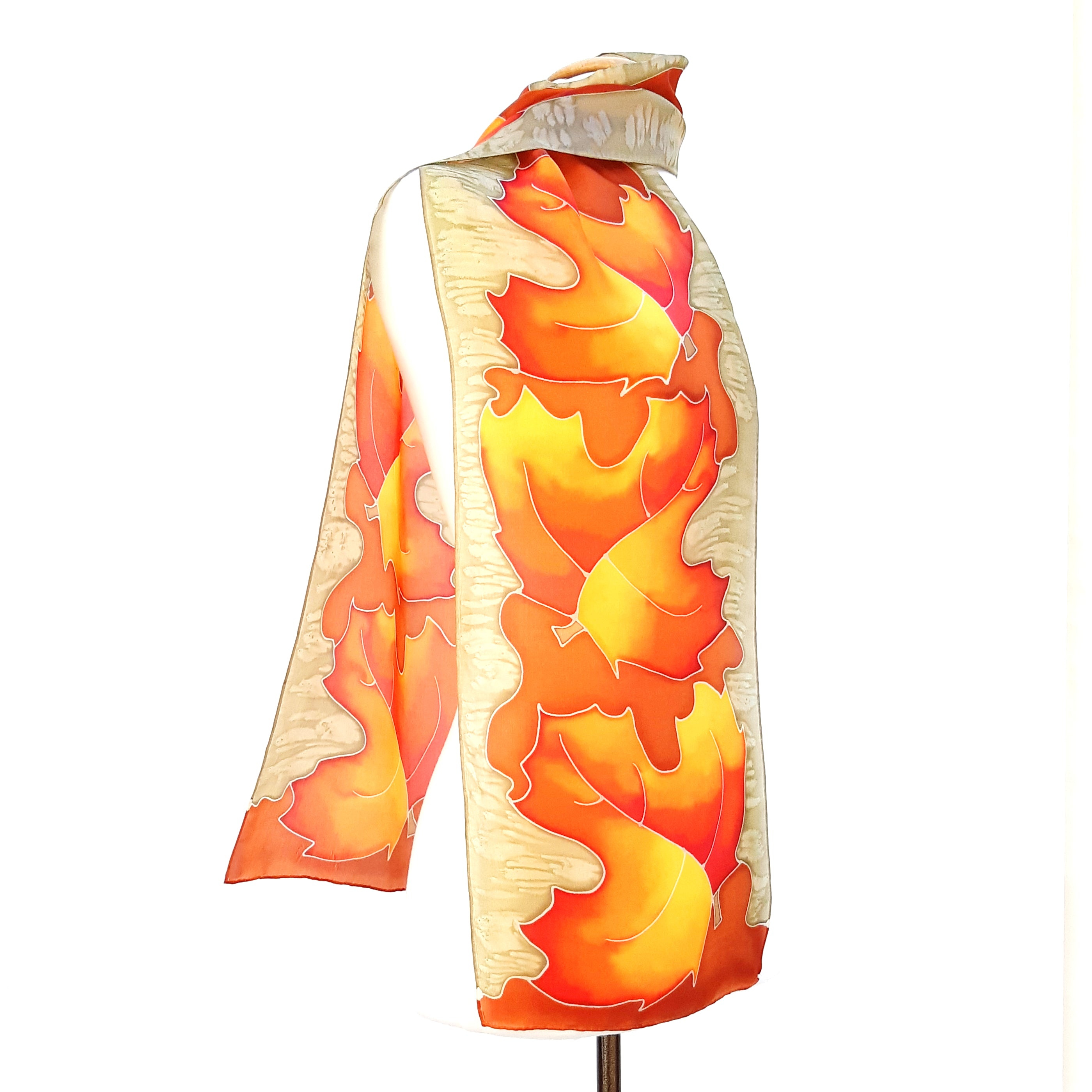 design silk scarf painted silk orange beige