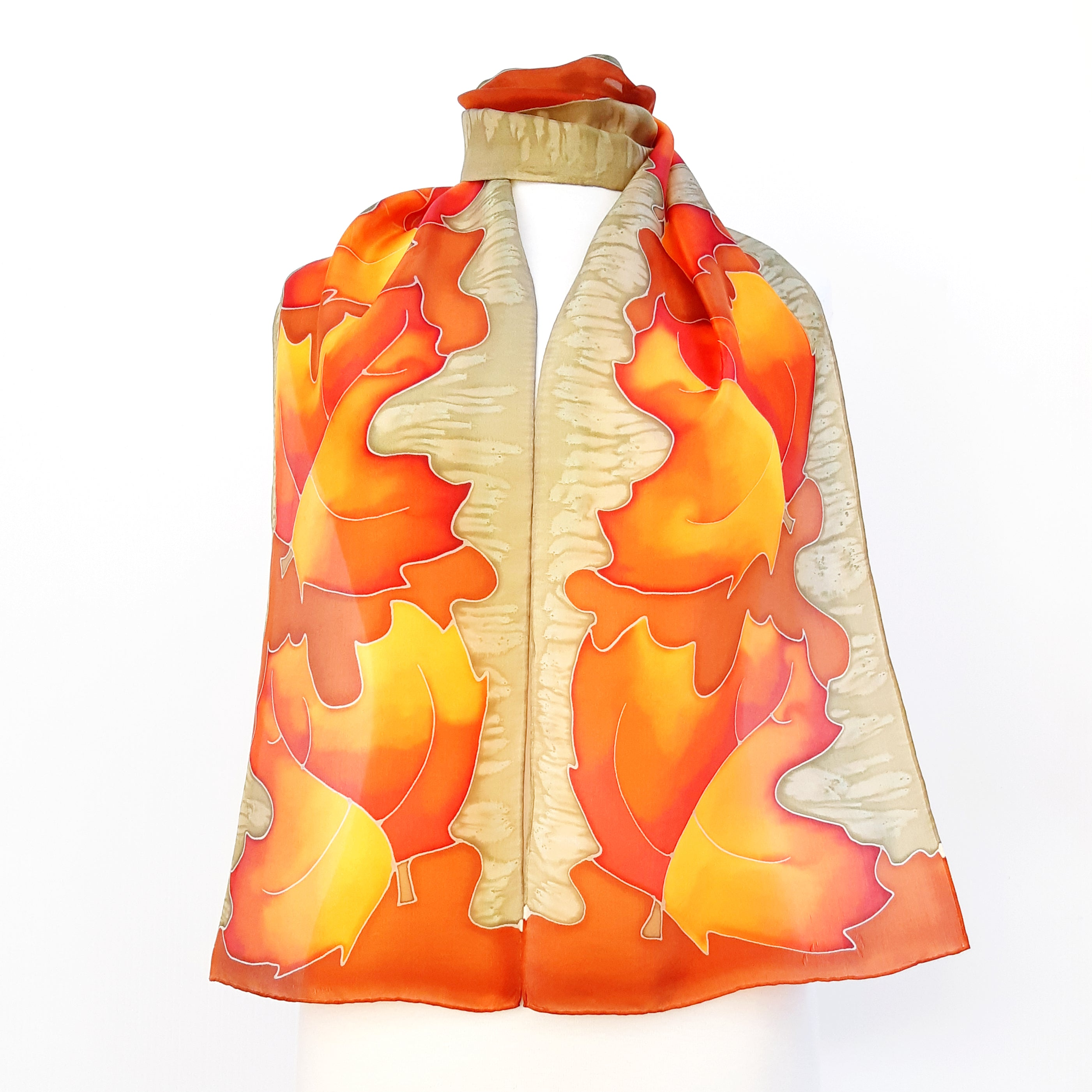 painted silk orange scarf maples leaf art