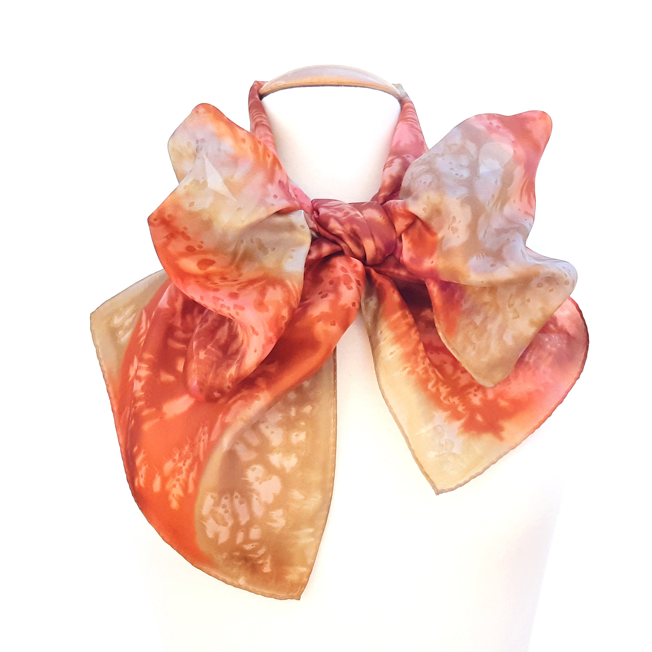 painted silk orange scarf design scarves
