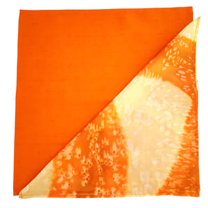 pocket scarf  orange painted silk