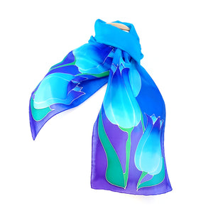 painted silk scarves blue tulip graphic art