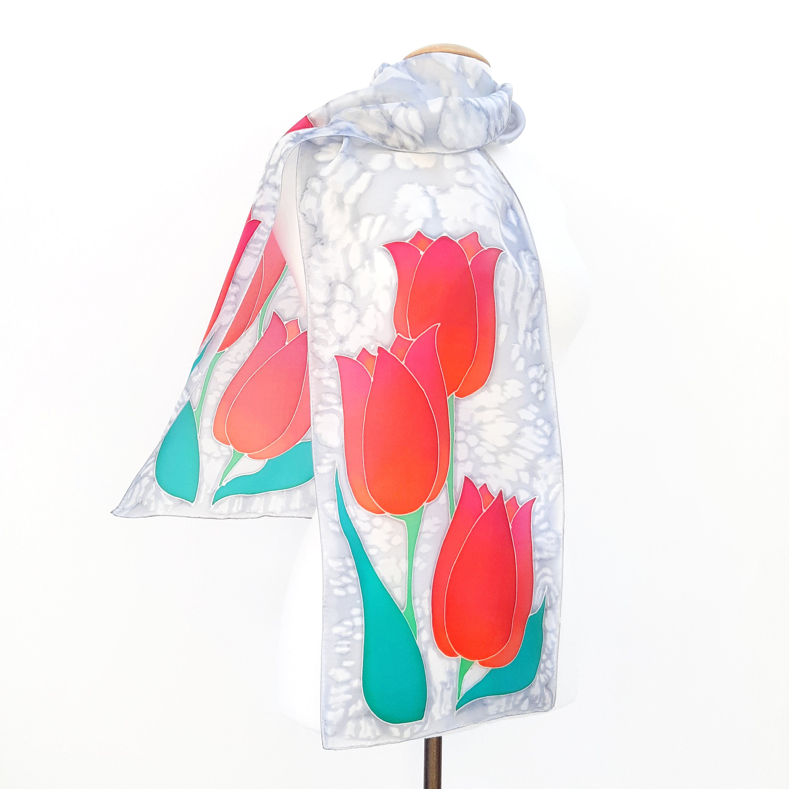 Painted silk red tulips  silver grey long scarf
