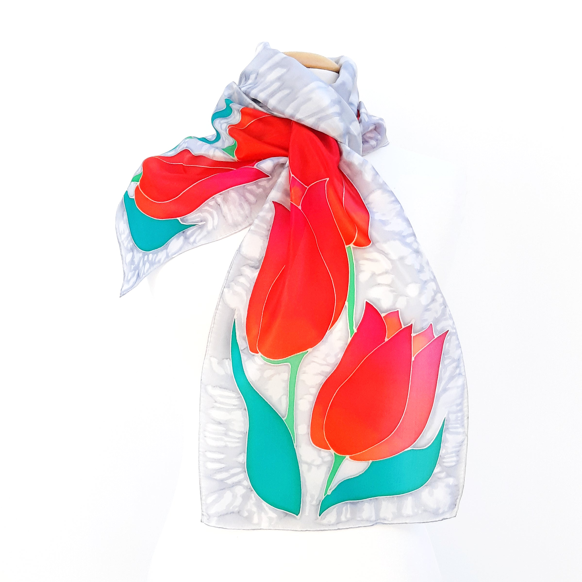 painted silk long scarves red tulips