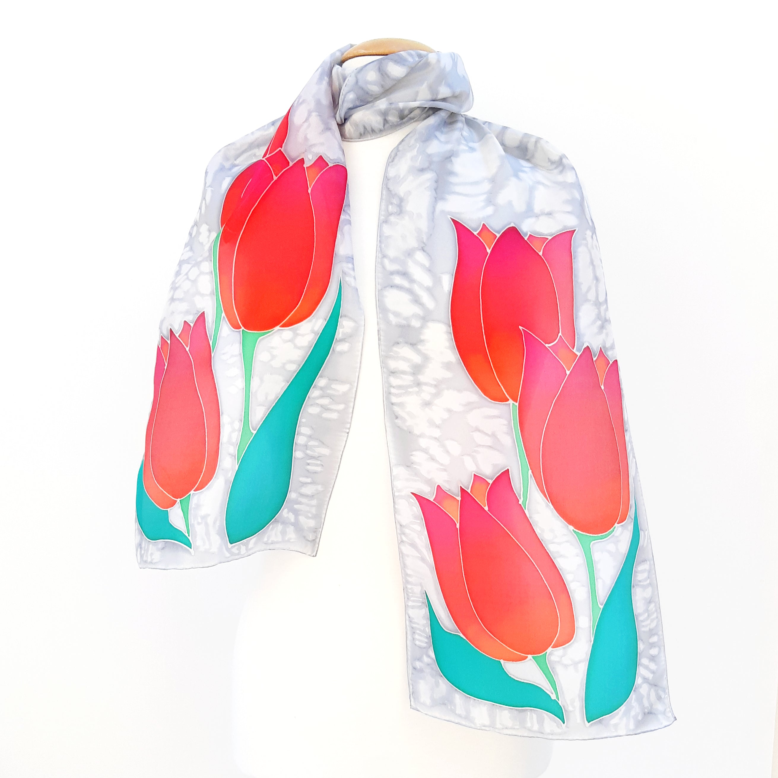 silk scarf for women painted silk red tulips