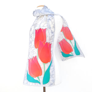 red tulip painted silk design scarves