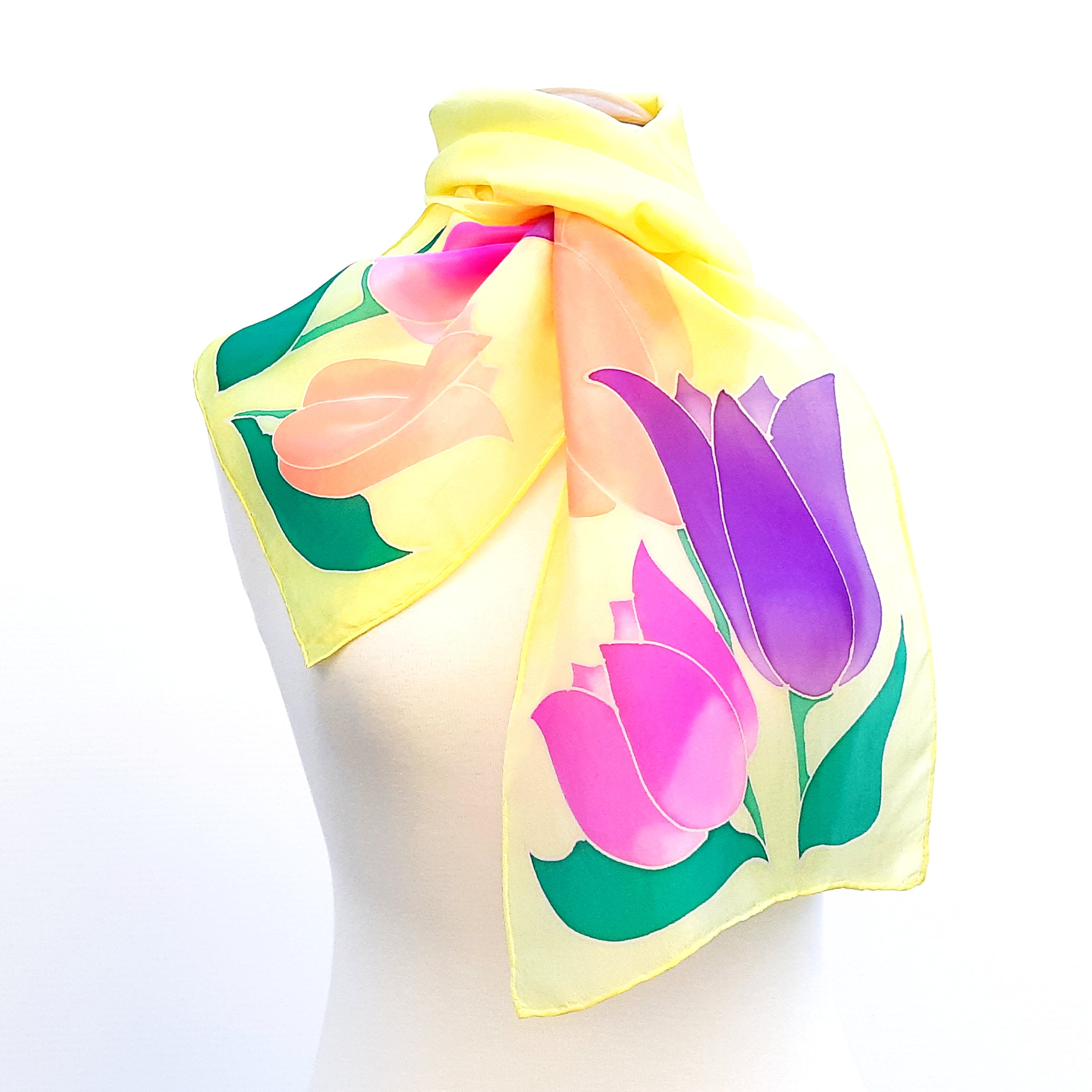 painted silk scarves  neck scarf yellow