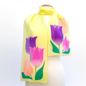 painted silk design silk scarf yellow