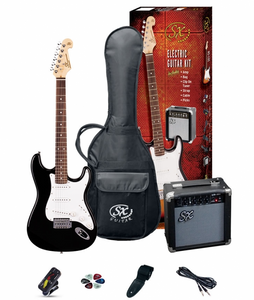 SX SE1 Strat Style Guitar Pack | Black