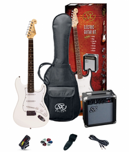 Load image into Gallery viewer, SX SE1 Strat Style Guitar Pack | White