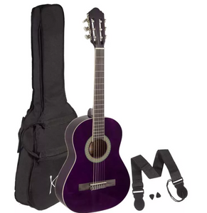 Koda 3/4 Size Classical Guitar, Nylon Strings, c/w Gig Bag, Strap & Picks - Various Colours
