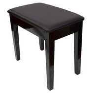 PRELUDE - Piano Stool (Fixed Height with Storage and Black Vinyl Top) - Polished Ebony
