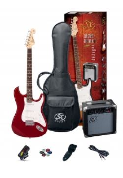 SX SE1 Strat Style Guitar Pack | Candy Apple Red