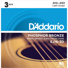 Load image into Gallery viewer, D'ADDARIO EJ16-3D Phosphor Bronze Acoustic Guitar Strings 12-53 Light. PACK OF 3 - Musko Music Store
