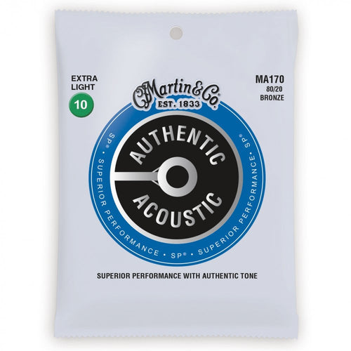 PACK OF 3 - MARTIN - MA170PK3 ,Authentic Acoustic SP 80/20 Bronze 10-47 Acoustic Guitar Strings - Musko Music Store
