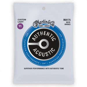 PACK OF 3 - MARTIN -  MA175PK3,  Authentic Acoustic SP 80/20 Bronze 11-52 Acoustic Guitar Strings - Musko Music Store
