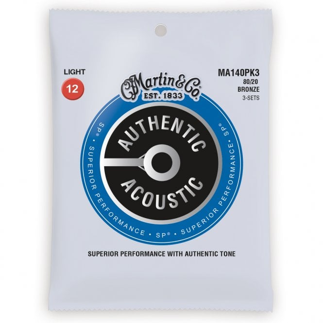 PACK OF 3 - MARTIN - MA140PK3, Authentic Acoustic SP 80/20 Bronze 12-54 Acoustic Guitar Strings. - Musko Music Store