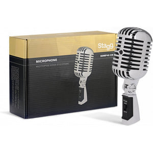 STAGG Dynamic Vintage 50's Style Microphone (Plastic Body) SDMP40 Chrome - Musko Music Store