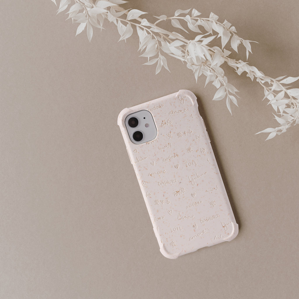 HIMODA eco friendly compostable phone case in beige- love-multi languages