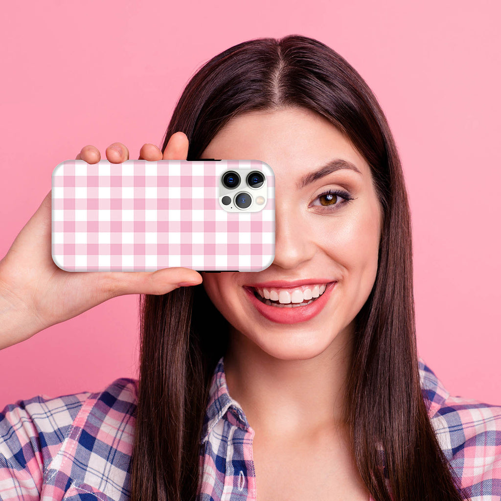 HIMODA pretty girly iphone case in pink white buffalo check