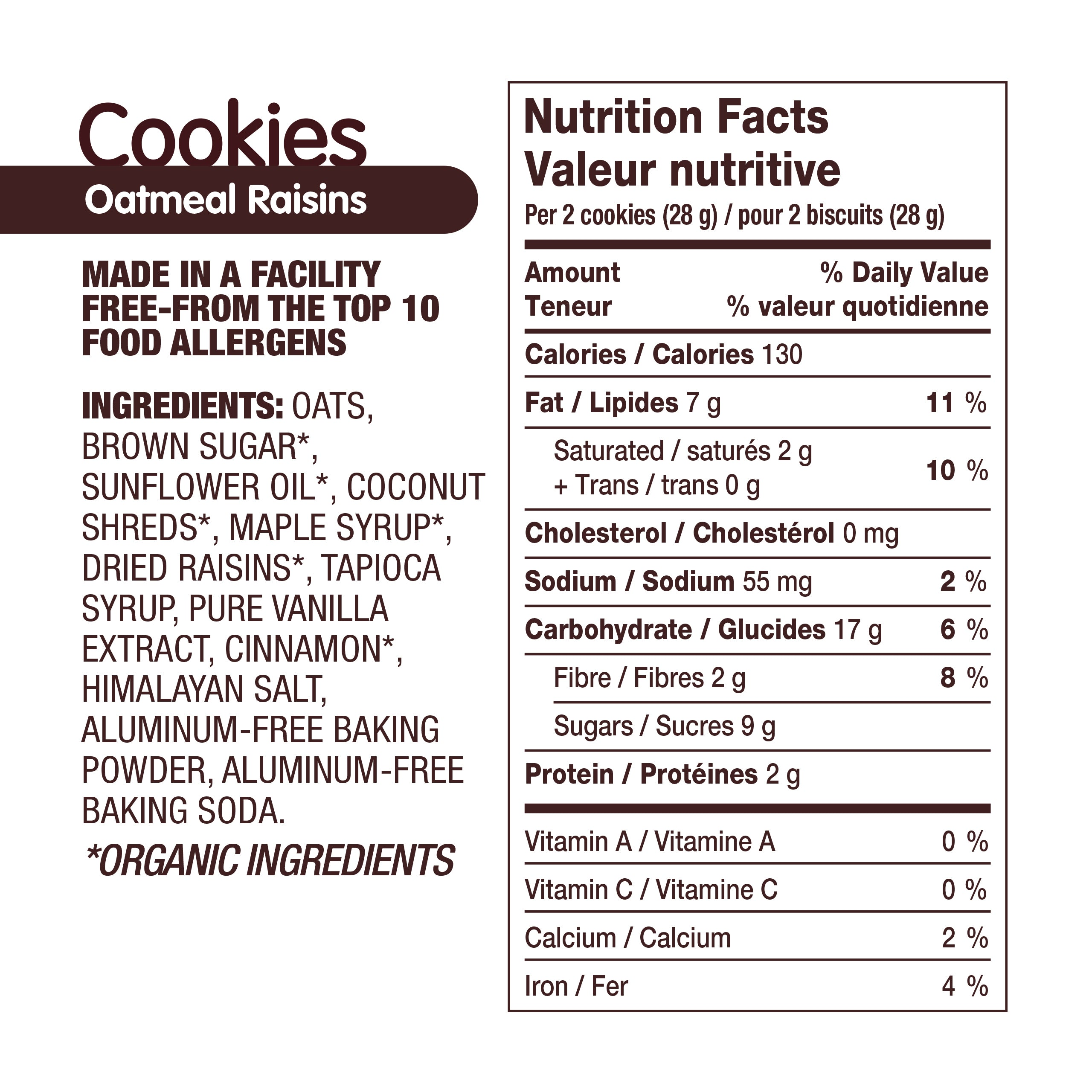 AllergySmart Oatmeal Raisin Cookie - 1 Tray of 12 x 2 pk (28g), 336g