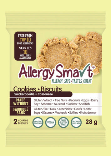 AllergySmart Snickerdoodle Cookie - 1 Tray of 12 x 2 pk (28g), 336g