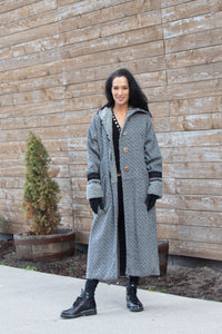 HAPPY HOODIE WOOL TWEED(L)-GREY