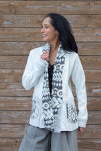 Load image into Gallery viewer, PATCHWORK DRAPE SWEATER - WHITE