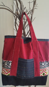 CARRY ALL ADJUSTABLE TOTE BAG-RED