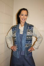 Load image into Gallery viewer, PATCHWORK DRAPE SWEATER- BLUE AND BEIGE