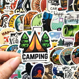 Happy Camper PVC Stickers | 50 Units