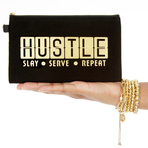 Hustle Slay Serve Repeat - Inspirational Quote Bag - Black