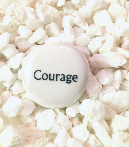 Power Words - COURAGE - Glass Palm Stone