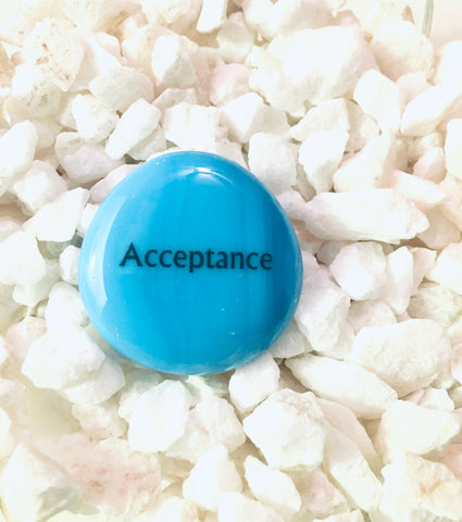 Power Words - ACCEPTANCE - Glass Palm Stone