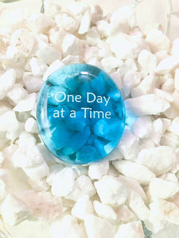 Power Words - ONE DAY AT A TIME - Glass Palm Stone