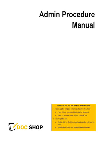 Admin Procedure Manual
